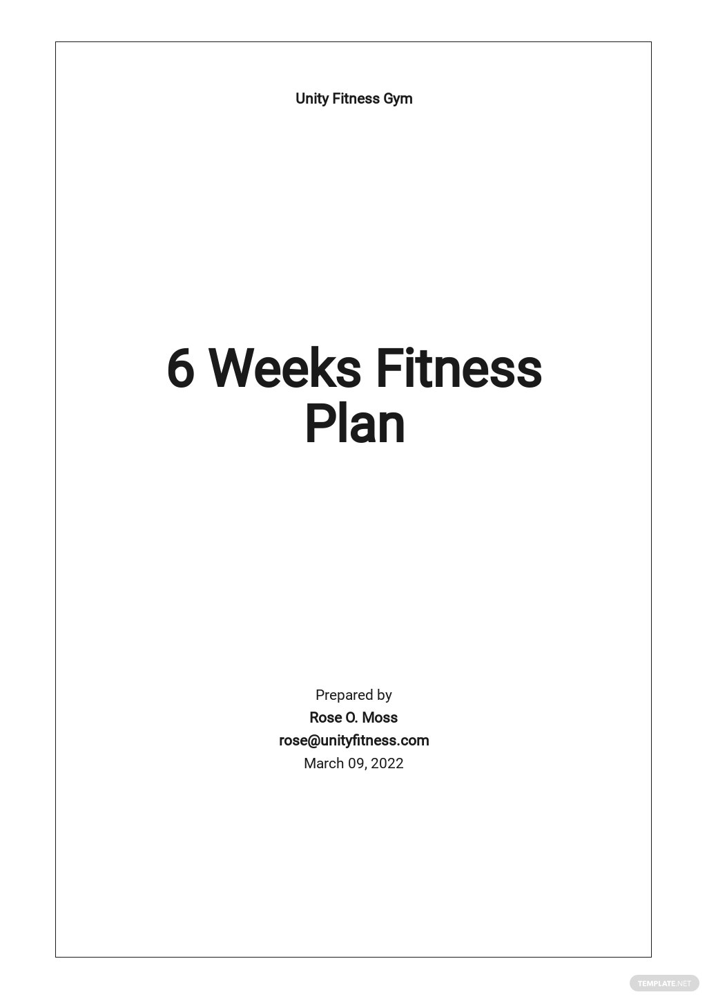 6 Week Fitness Plan Template