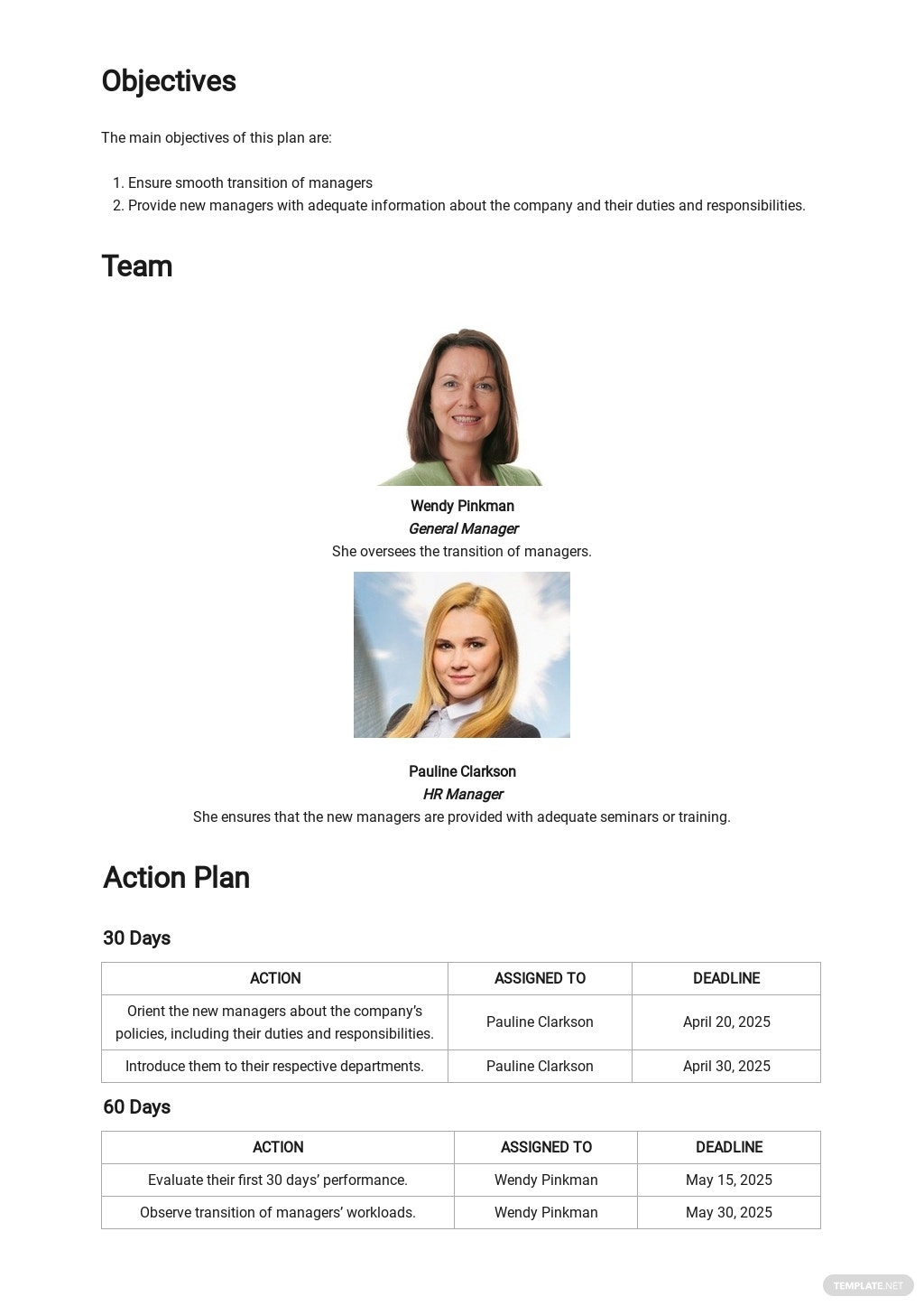 Sample 30 60 90 Day Plan For New Managers Template 1.jpe
