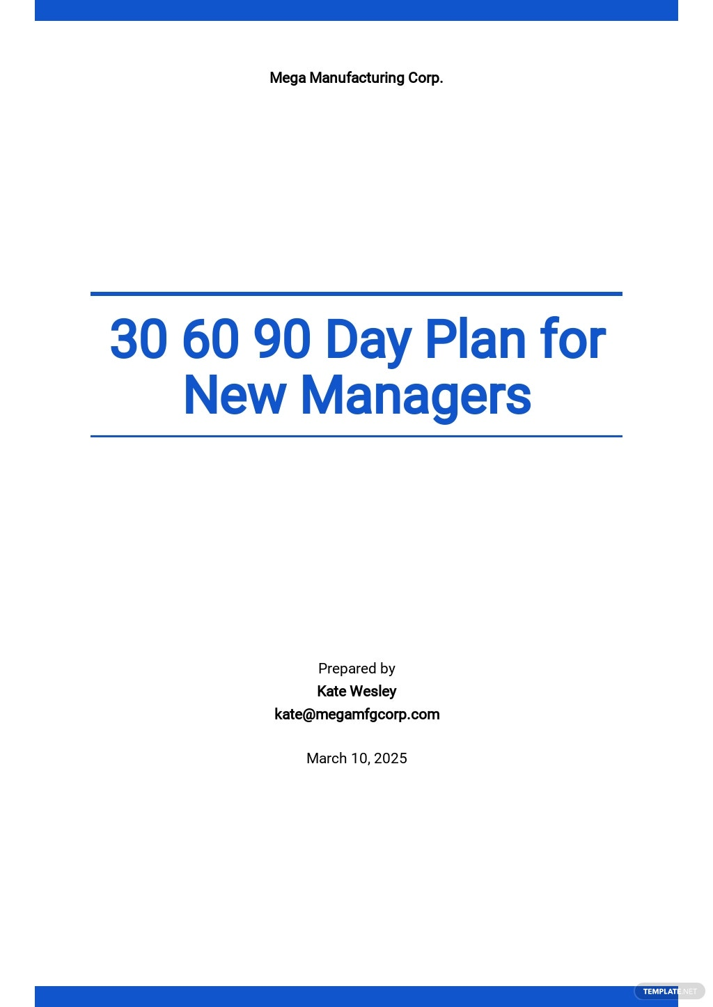 Sample 30 60 90 Day Plan For New Managers Template.jpe