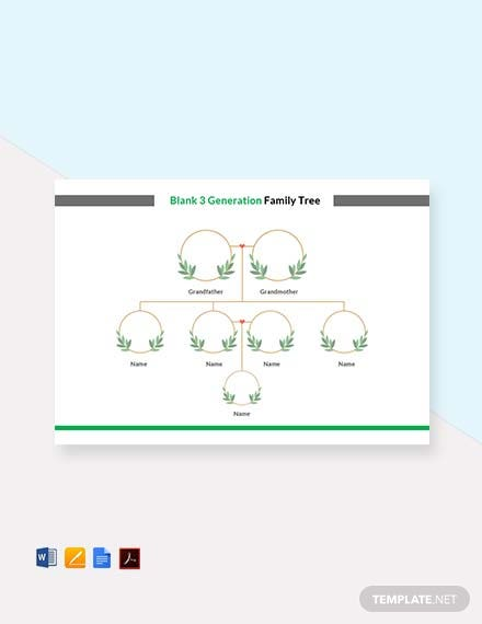 Free Blank 3 Generation Family Tree Template In Microsoft Word