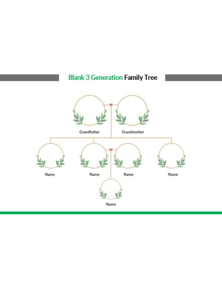 Blank 3 Generation Family Tree Template