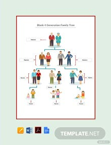 Free Blank 4 Generation Family Tree Template
