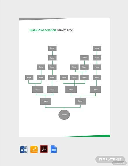 Free Blank 7 Generation Family Tree Template