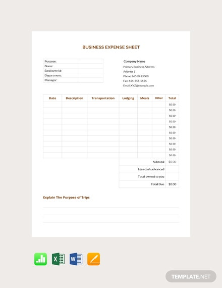 Free-Business-Expense-Sheet-Template