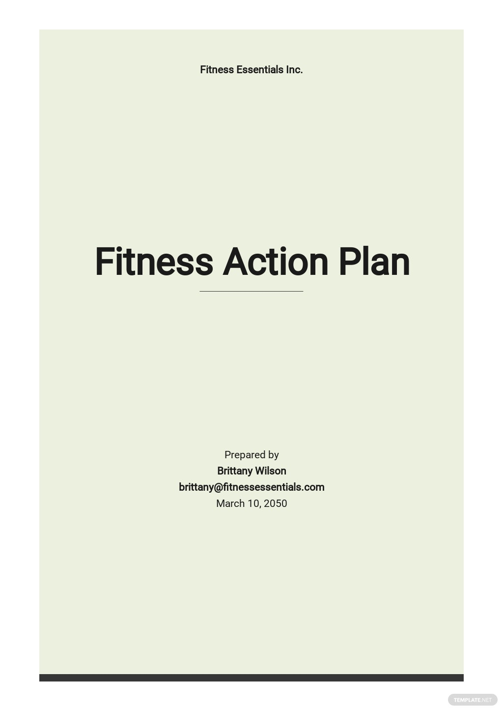 Fitness Action Plan Template
