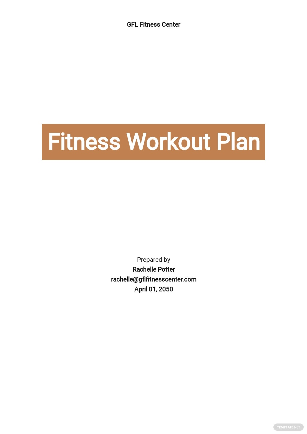 Fitness Workout Plan Template