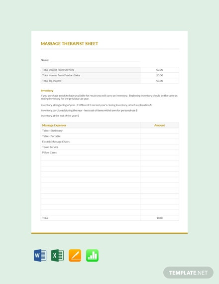 Free Massage Therapist Expense Sheet Template