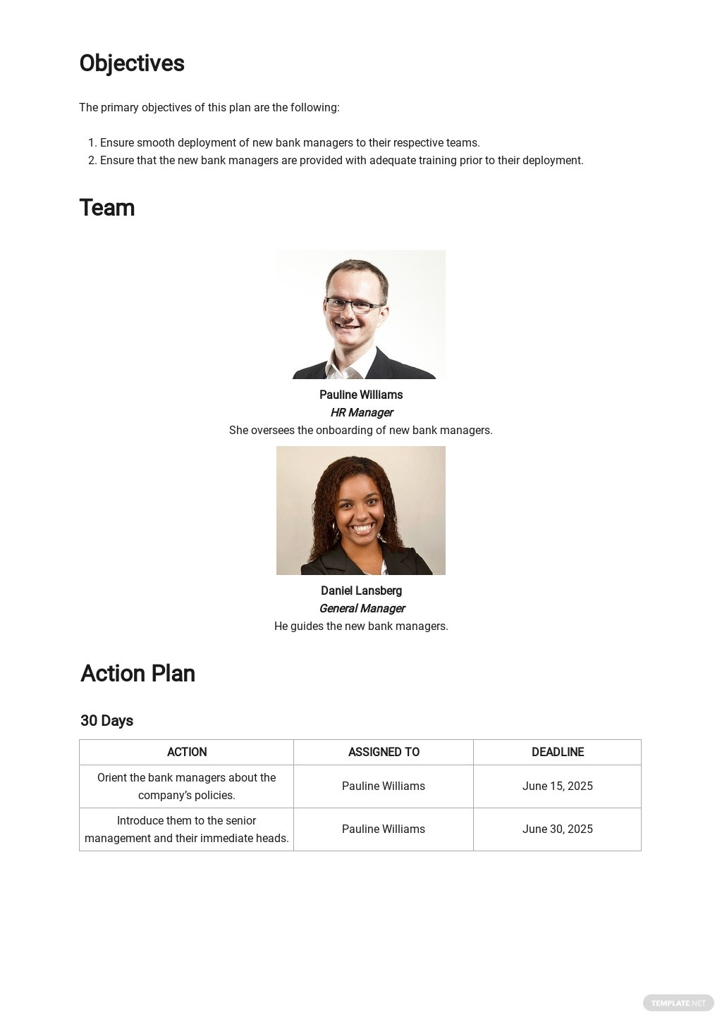 30 60 90 Day Plan for New Bank Managers Template 1.jpe