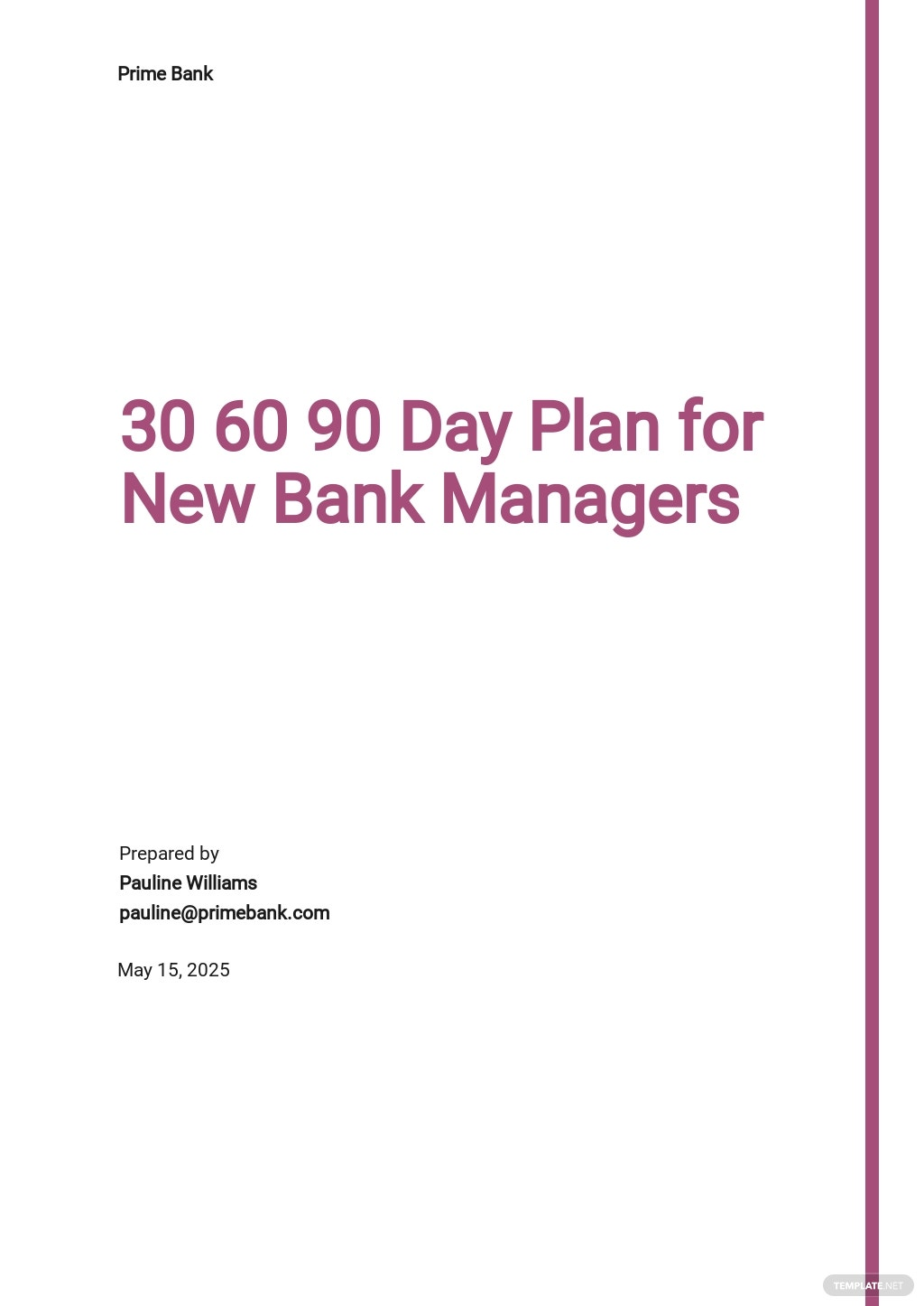 30 60 90 Day Plan for New Bank Managers Template.jpe