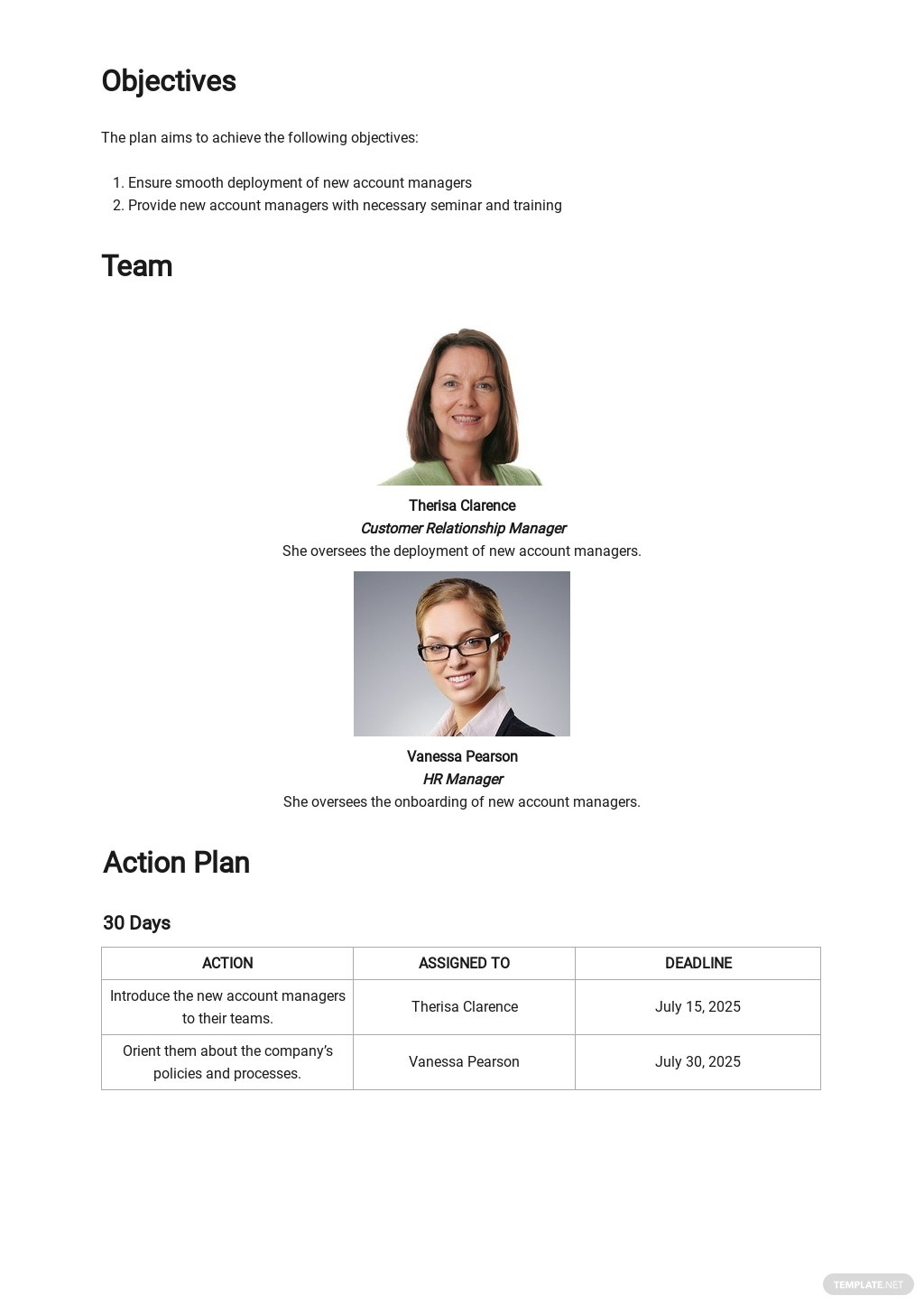 30 60 90 Day Plan for New Account Managers Template 1.jpe