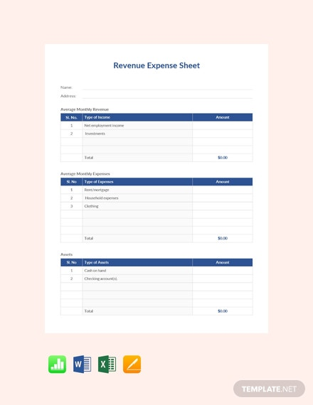 Free Revenue Expense Sheet Template
