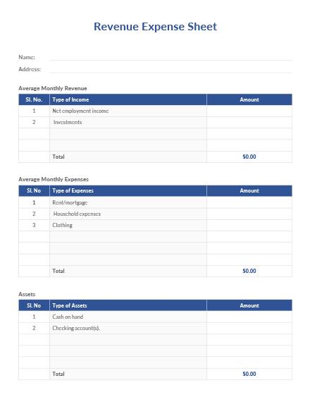 Revenue Expense Sheet Template