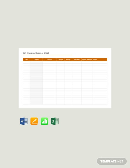 Free Self Employed Expense Sheet Template