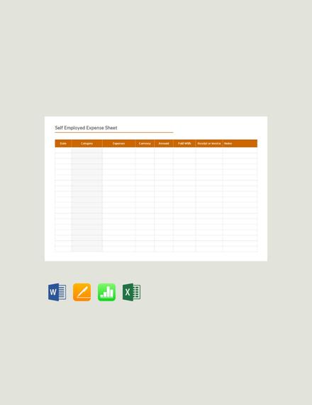 Free Self Employed Expense Sheet Template
