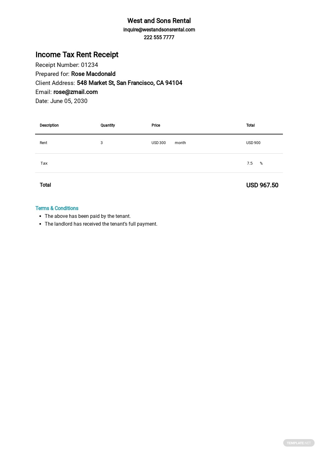 Income Tax Rent Receipt Template