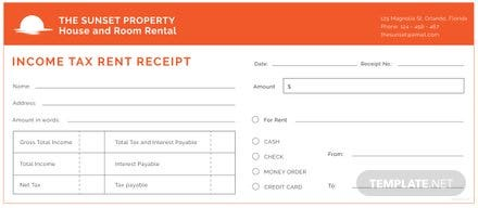 Free Income Tax Rent Receipt Template
