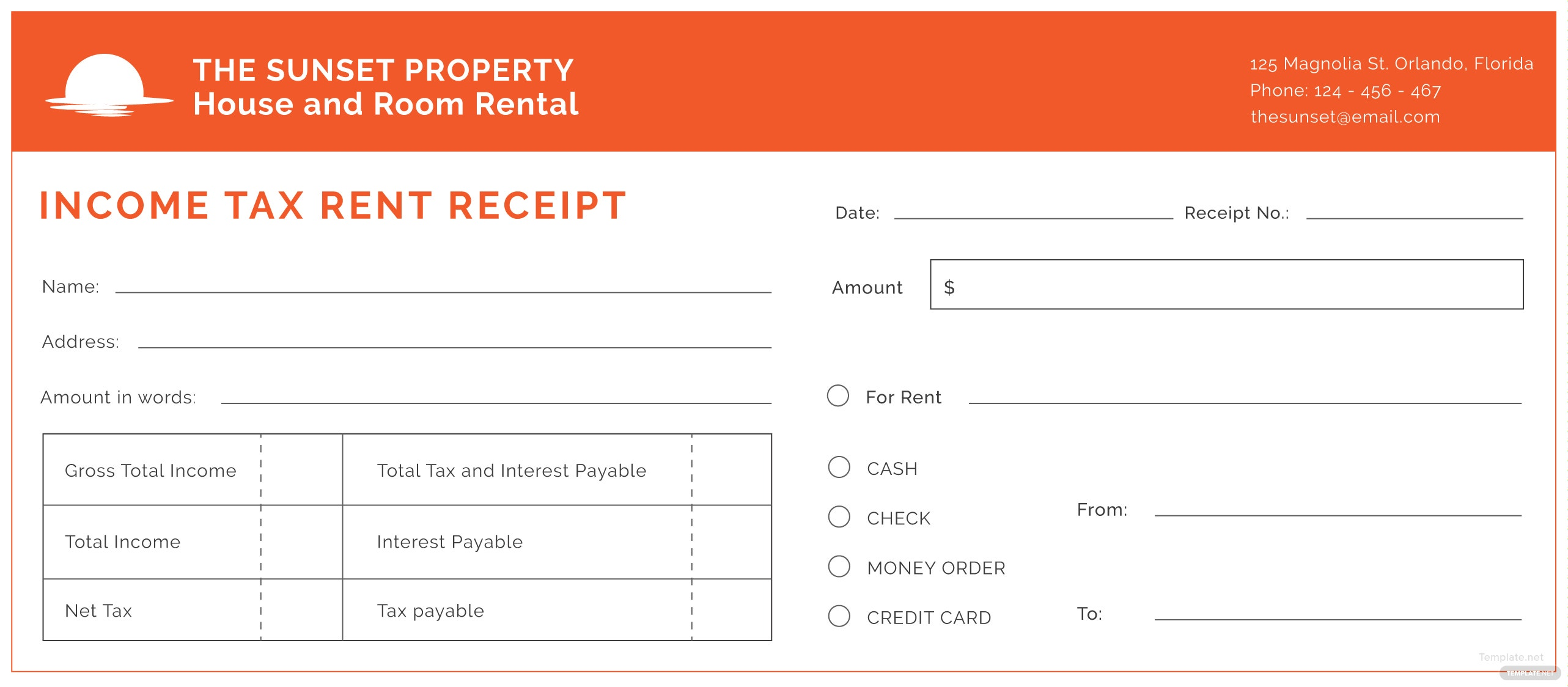 Free Income Tax Rent Receipt Template in Adobe Illustrator ...