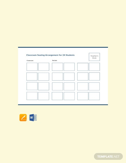 Free Classroom Seating Arrangements for 24 Students Template