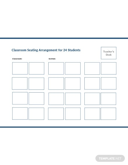 Classroom Seating Arrangements for 24 Students Template