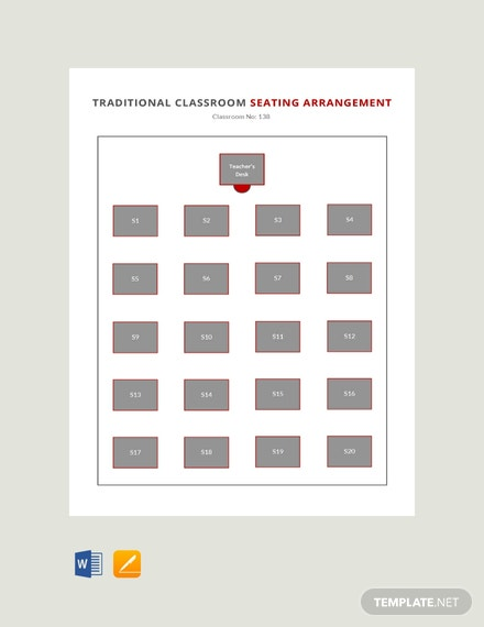 Free Traditional Classroom Seating Arrangements Template