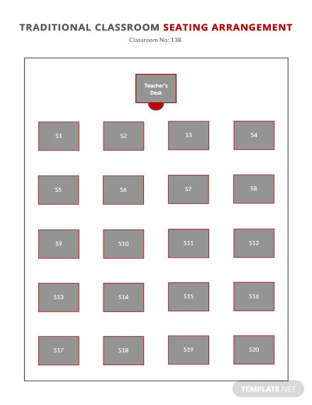 Traditional Classroom Seating Arrangements Template