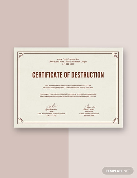 Free certificate of destruction template download 200 for Certificate of destruction template word