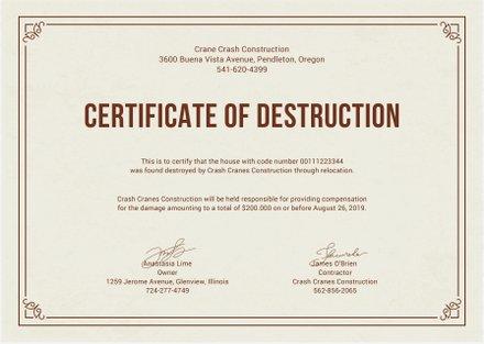 Free Certificate of Destruction Template