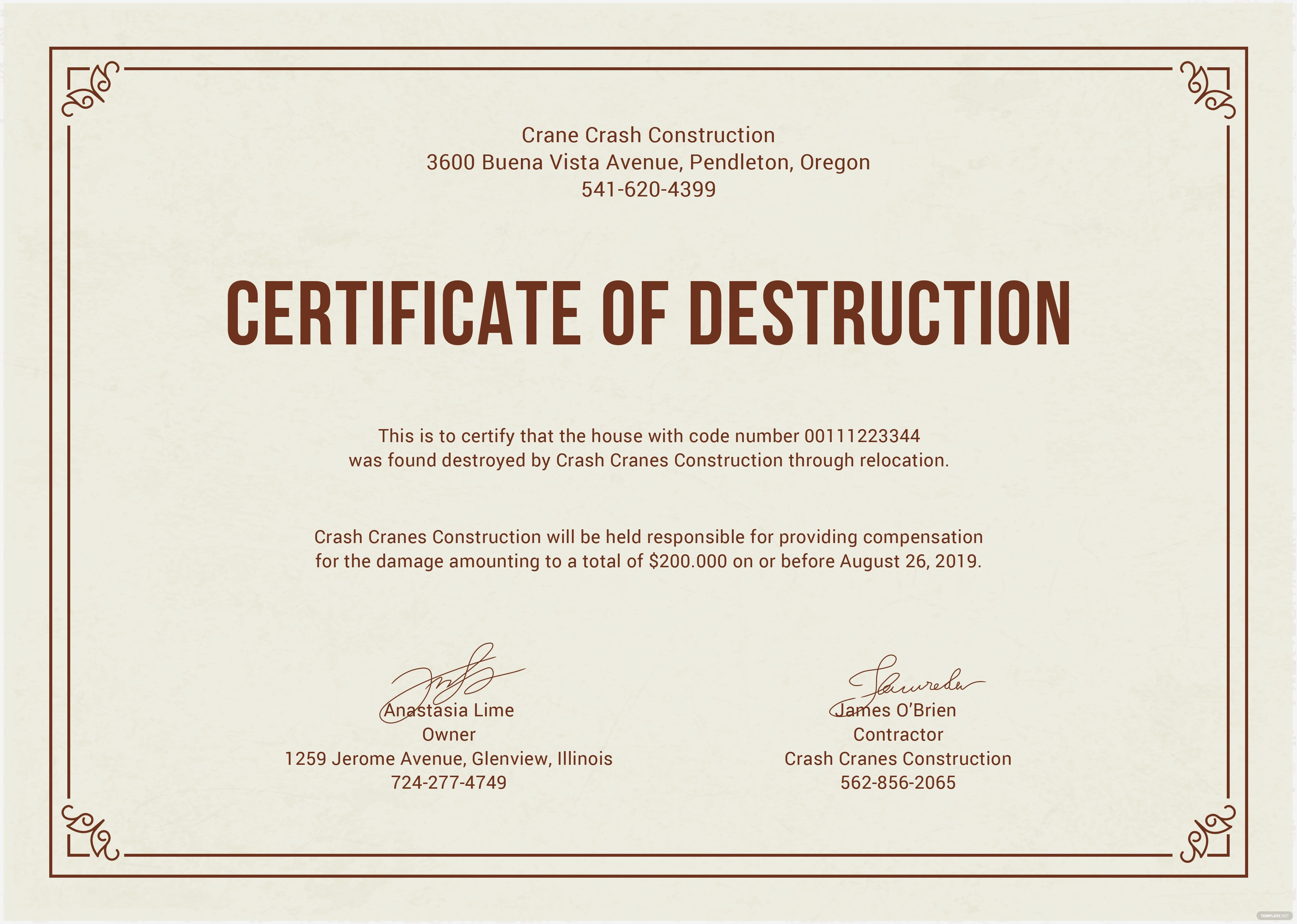 Free certificate of destruction template in adobe for Certificate of destruction template word