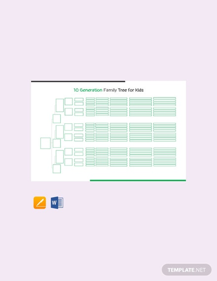 Free 10 Generation Family Tree Template For Kid's
