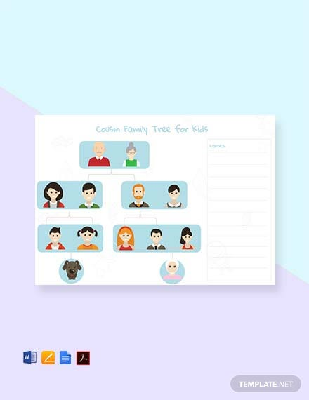 Cousin Family Tree Template For Kid's [Free PDF] - Word, Apple Pages