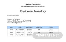 Free Equipment Inventory Template