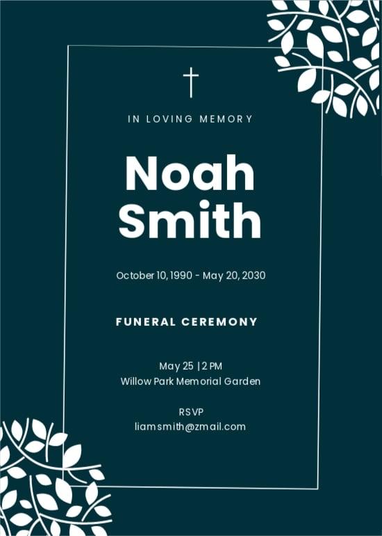 Elegant Funeral Ceremony Invitation Template.jpe