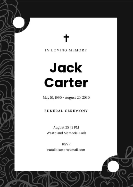 Modern Funeral Ceremony Invitation Template.jpe