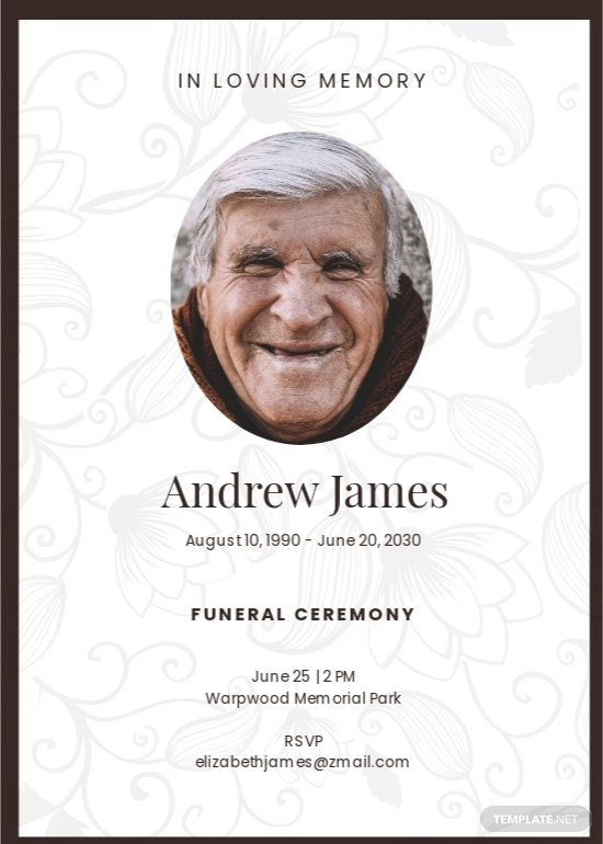 Simple Funeral Ceremony Invitation Template.jpe
