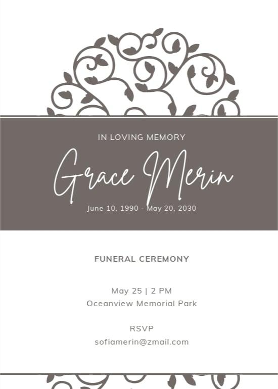 Creative Funeral Ceremony Invitation Template.jpe