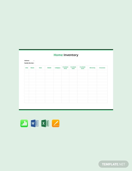 Free Home Inventory Template