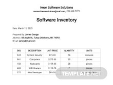 Free Software Inventory Template