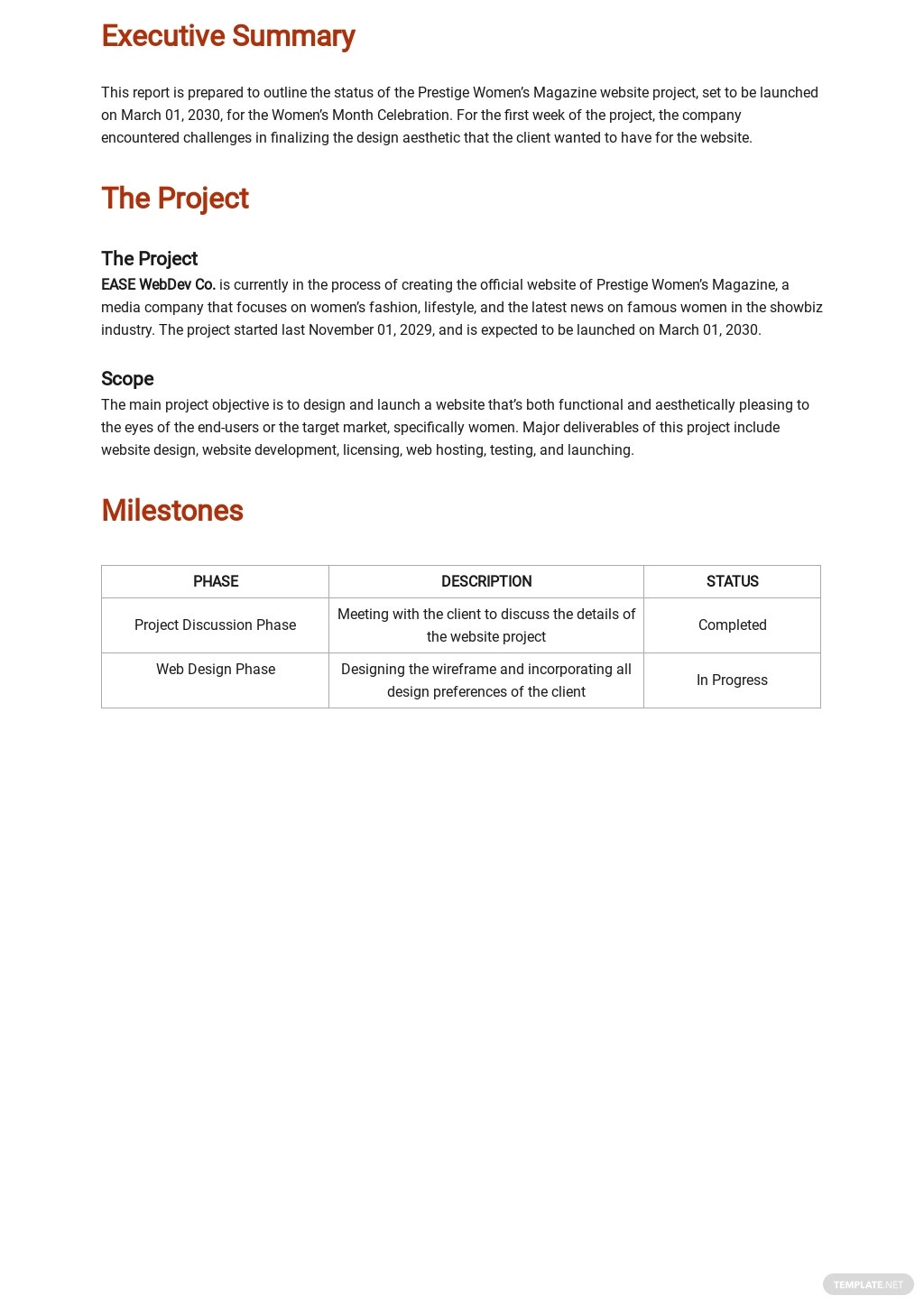 Free Project Management Weekly Status Report Template 1.jpe