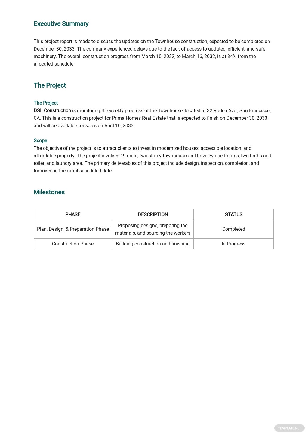 Free Project weekly Status Report Template 1.jpe