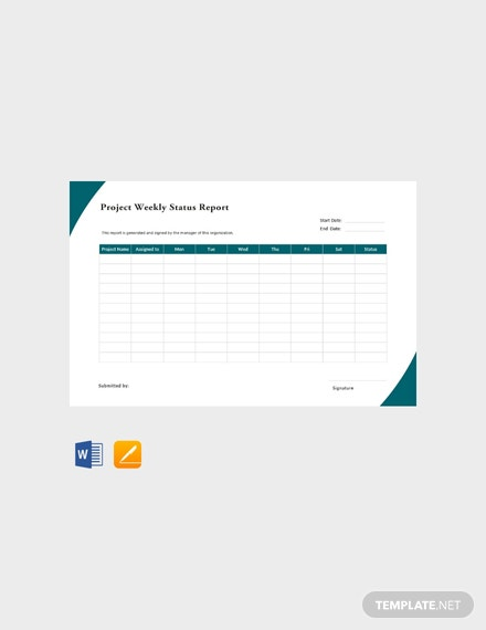 Free Project weekly Status Report Template