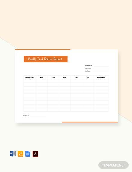 Free Weekly Task Report Template