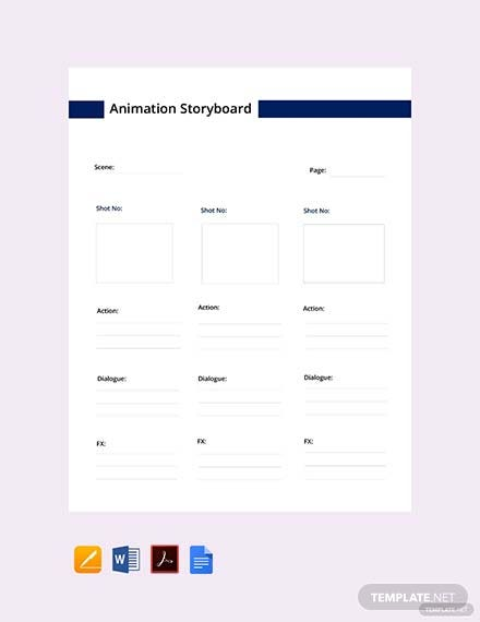 Free Animation Storyboard Template