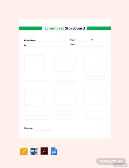 Free Screencast Storyboard Template