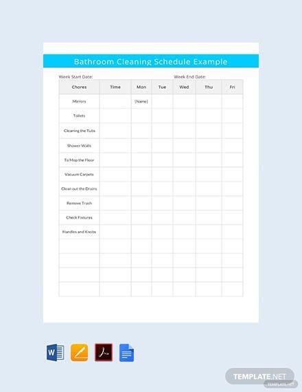 Free Bathroom Cleaning Schedule Example Template