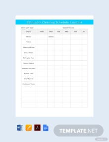 Bathroom Cleaning Schedule Example Template