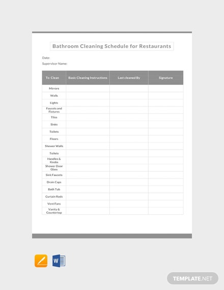 Free Bathroom Cleaning Schedule for Restaurants Template