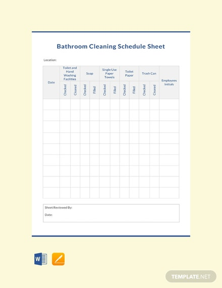 Free Bathroom Cleaning Schedule Sheet Template