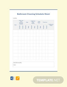 Bathroom Cleaning Schedule Sheet Template