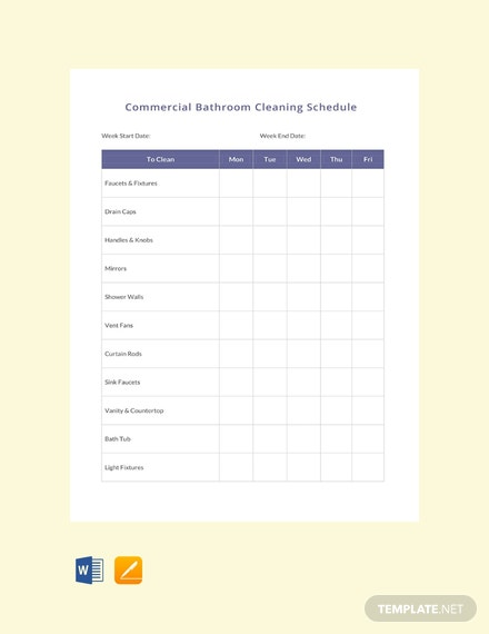 Free Commercial Bathroom Cleaning Schedule Template