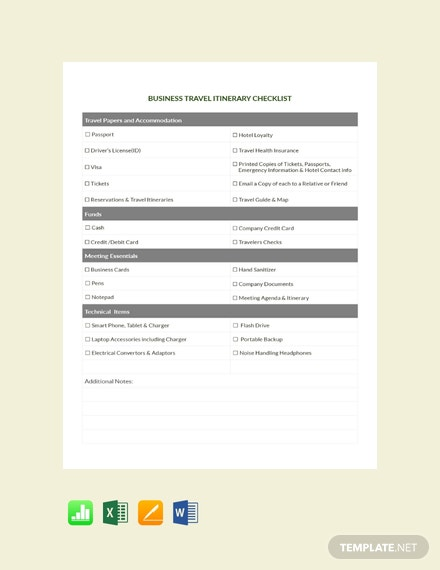 Free Business Travel Itinerary Checklist Template